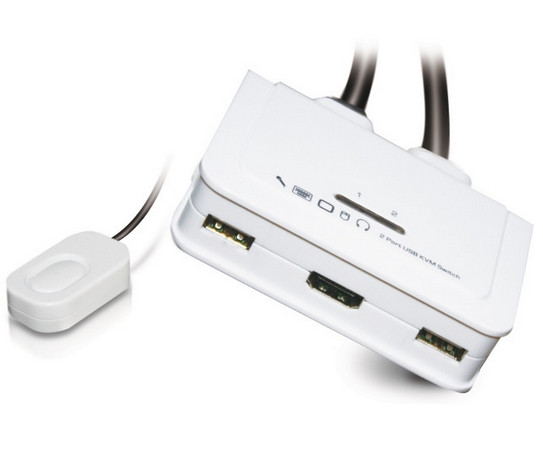 KVM Switch 1User ->2PCs HDMI, USB, Audio, inc. Kabelsatz 0,9m