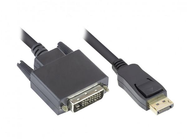 Anschlusskabel DisplayPort an DVI-D 24+1 - 24K vergoldete Kontakte - OFC - schwarz - 1m