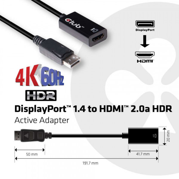 Club 3D DisplayPort 1.4 auf HDMI 2.0a HDR 4K60Hz Aktiver Adapter
