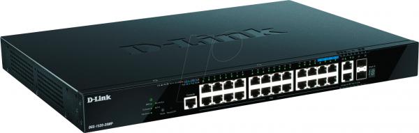 D-Link DGS 1520-28MP - Switch - 20x Gbit, 4x 2,5Gbit, 2x10GbE RJ45 2x SFP+ (24x PoE+ 370W)