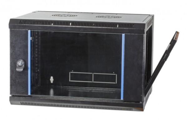 Wandgehäuse Flat Pack 12HE RAL 9005, 600mm tief
