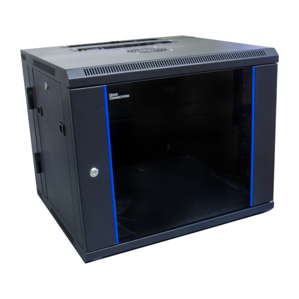 Wandgehäuse 9HE RAL 9005, 550mm tief zweiteilig