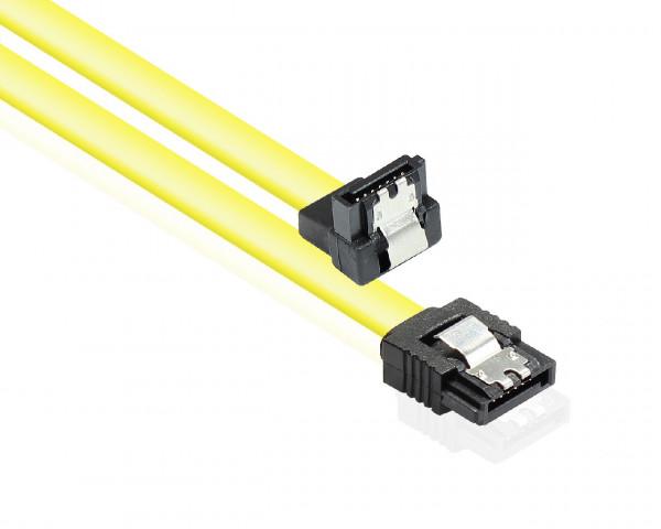 Kabel HDD SATA-II/III 1,0m einseitig abgewinkelt mit Metallclip gelb