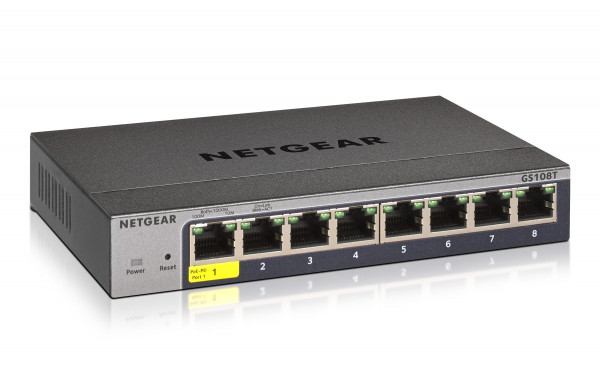 NETGEAR GS108Tv3 8-Port Managed Pro Switch (1xPoE PD-Port)