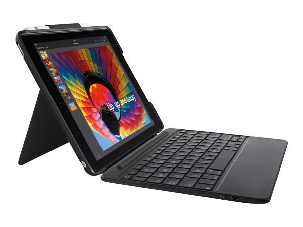 "Logitech Slim Combo for Apple 9.7"" iPad (5./6. Generation) Tastatur und Foliohülle schwarz DE"