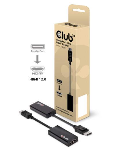 Club 3D Adapter DisplayPort 1.2 auf HDMI 2.0 4K 60Hz UHD Aktiver Adapter