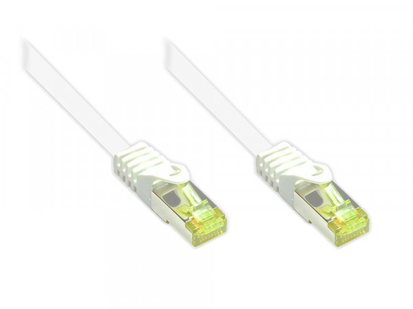 Patchkabel 0,25m mit Cat7 Rohkabel RJ45 S/FTP PIMF weiß
